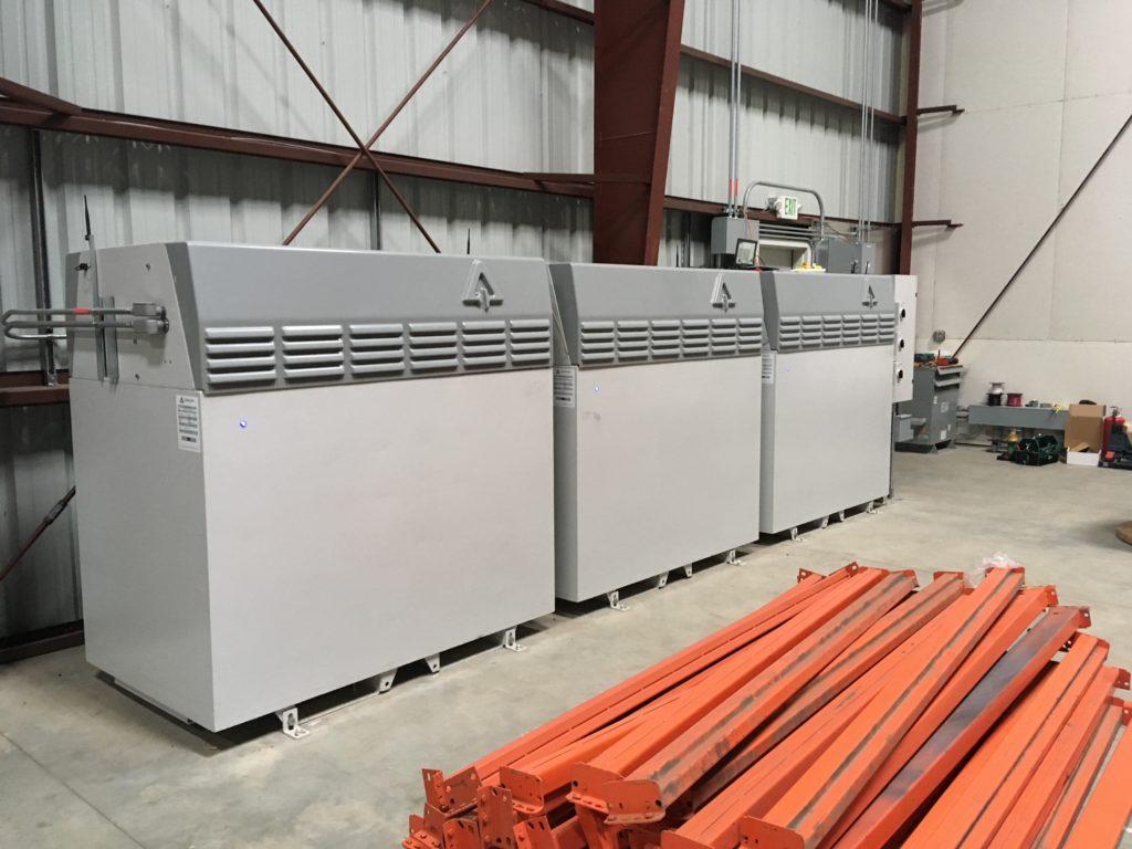 Microgrid storage batteries onsite at Sandbar Solar.